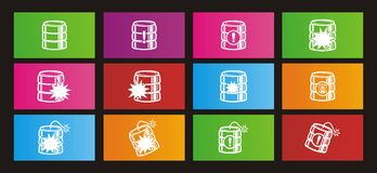 Database crash rectangle metro style icon sets Royalty Free Stock Photography
