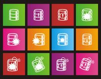 Database crash square metro style icon sets Royalty Free Stock Photo