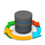 Database Cycle. Database with colorful arrows on the white background Royalty Free Stock Image