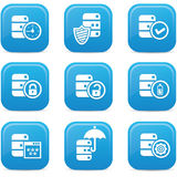 Database,Data center, and Data storage icons,blue version Royalty Free Stock Photos