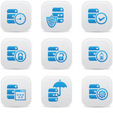 Database,Data center, and Data storage icons,blue version.  Royalty Free Stock Photos