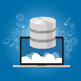 Database data in the cloud network multimedia storage symbol icon laptop Stock Images