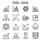Database , Data & Graph icon set in thin line style Royalty Free Stock Photo