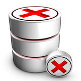 Database deletion. Icon symbolizing the deletion of an existing database Royalty Free Stock Photos