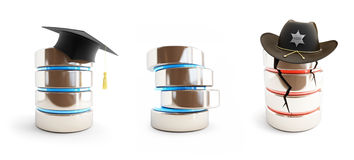 Database for different activities set on a white background 3D illustration. Database for different activities set on a white background 3D Royalty Free Stock Image
