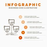 database, distributed, connection, network, computer Infographics Template for Website and Presentation. Line Gray icon with vector illustration