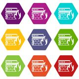 Database and firewall icon set color hexahedron Stock Photos