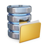 Database with folder 3D. Storage concept. 3D icon. On white background Stock Photos