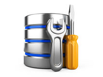Database with gear and spanner on white background Royalty Free Stock Photography