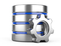 Database with gear on white background Stock Photos