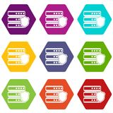 Database with gray shield icon set color hexahedron Royalty Free Stock Photos
