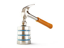 Database, a hammer blow on a white background Royalty Free Stock Image