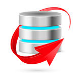 Database icon with update symbol. Database icon with update symbol presented as red curved arrow. Illustration on white Stock Photos