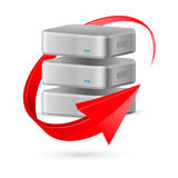 Database icon with update symbol. Database icon with update symbol presented as red curved arrow. Illustration on white background Royalty Free Stock Photo