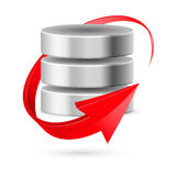 Database icon with update symbol. Royalty Free Stock Photography