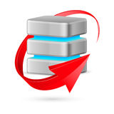 Database icon with update symbol. Stock Photo