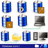 Database icons 1. Collection of different database icon illustrations - part 1 Stock Photos