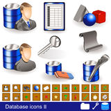 Database icons 2. A collection of different database icons - part 2 Stock Photo
