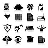 Database icons black Stock Photography