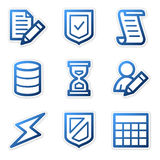 Database icons, blue contour Royalty Free Stock Photo