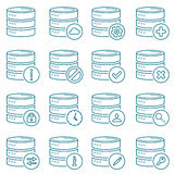 Database. Icons of blue lined database Stock Image