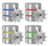 Database icons with cogwheel collection Royalty Free Stock Photography