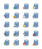 Database icons, color set - Vector Illustration Stock Images