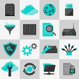 Database icons flat Stock Images