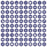 100 database icons hexagon purple. 100 database icons set in purple hexagon isolated vector illustration Stock Illustration