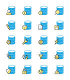 Database icons, Monochrome color - Vector Illustration Stock Image