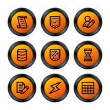 Database icons, orange series Stock Photo