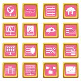 Database icons pink Stock Photos