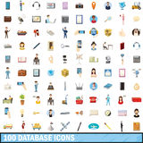 100 database icons set, cartoon style Royalty Free Stock Photography