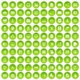 100 database icons set green circle. Isolated on white background vector illustration Stock Photos