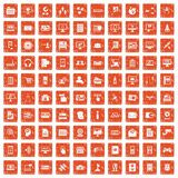 100 database icons set grunge orange. 100 database icons set in grunge style orange color isolated on white background vector illustration Stock Photography