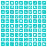 100 database icons set grunge blue. 100 database icons set in grunge style blue color isolated on white background vector illustration Stock Image