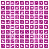 100 database icons set grunge pink. 100 database icons set in grunge style pink color isolated on white background vector illustration Royalty Free Illustration