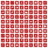 100 database icons set grunge red. 100 database icons set in grunge style red color isolated on white background vector illustration Stock Illustration