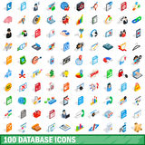 100 database icons set, isometric 3d style Stock Photos