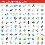 100 database icons set, isometric 3d style Royalty Free Stock Images