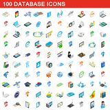 100 database icons set, isometric 3d style. 100 database icons set in isometric 3d style for any design illustration vector illustration