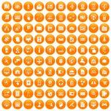 100 database icons set orange. 100 database icons set in orange circle isolated on white vector illustration Stock Photography