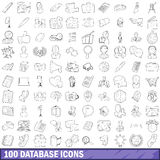 100 database icons set, outline style. 100 database icons set in outline style for any design vector illustration Royalty Free Stock Photos