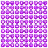 100 database icons set purple. 100 database icons set in purple circle isolated on white vector illustration Stock Images