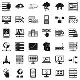 Database icons set, simple style. Database icons set. Simple style of 36 database vector icons for web isolated on white background Royalty Free Stock Photography