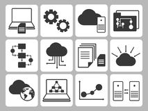Database Icons Set. Various Dark Gray Database Icons Set on White Background. Commonly Used for Computer Database Management Concepts Royalty Free Stock Photography