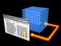 Database management. 3-D graphic symbolizing electronic database storage and retrieval Royalty Free Stock Photo