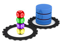 Database management system. And it's sync with folders and files with cogs on white surface Stock Photos