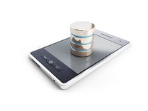 A database in the mobile phone. 3d Illustrations on a white background Royalty Free Stock Photography
