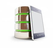 A database in the mobile phone. 3d Illustrations on a white background Stock Photos